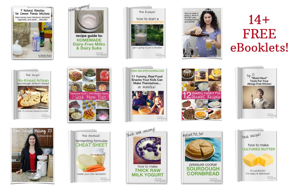 photo collage of 14+ eBooklets, including no-knead sourdough bread and how to make thick raw milk yogurt, available if you sign up for the FREE Traditional Cooking Cupboard